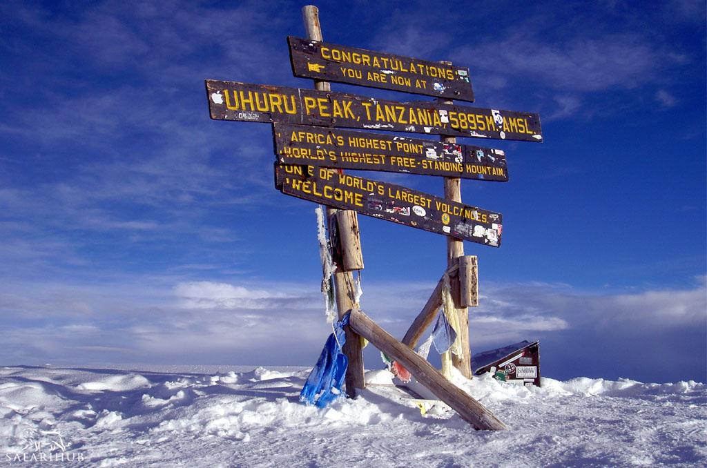 Barafu Camp (4,600m/15,100ft) to Uhuru Peak (5,895m/19,300ft) then descending to Mweka Camp (3,110m/10,200ft)