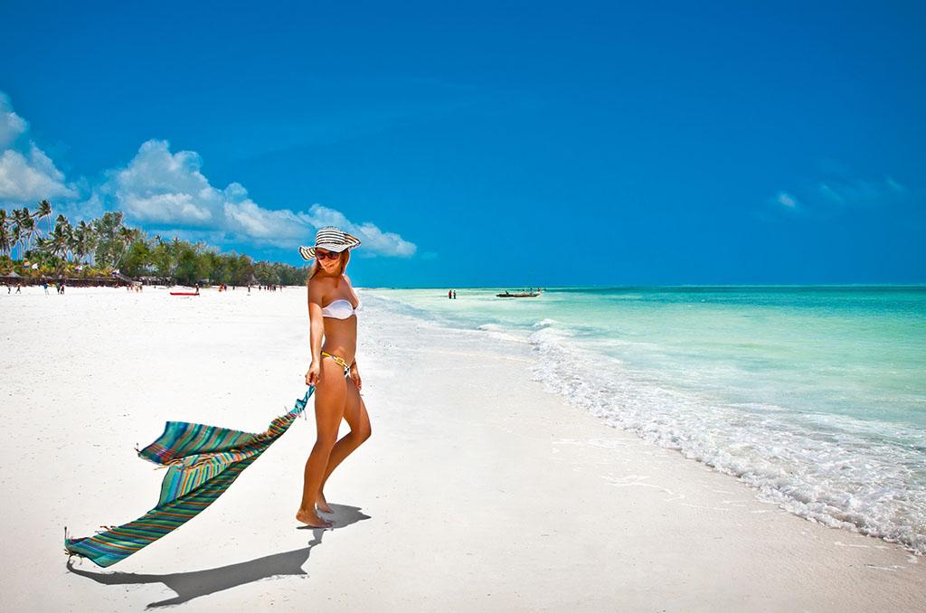 Sandy white beach